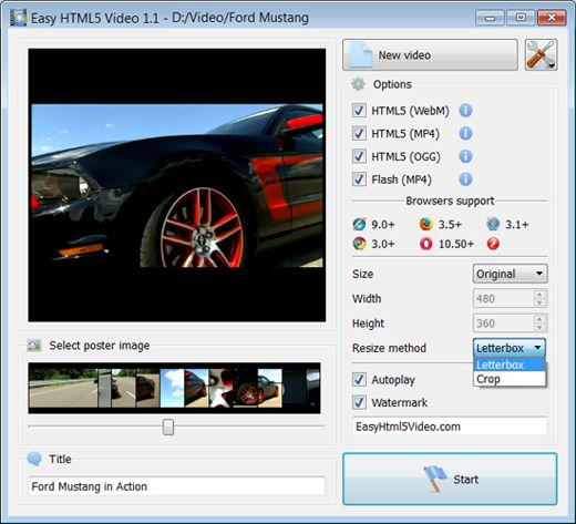 resize image html5. You can also set video size and resize method, select support for desired