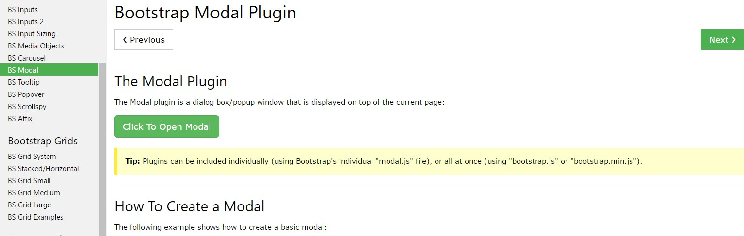Bootstrap Modal Popup:  information  guide