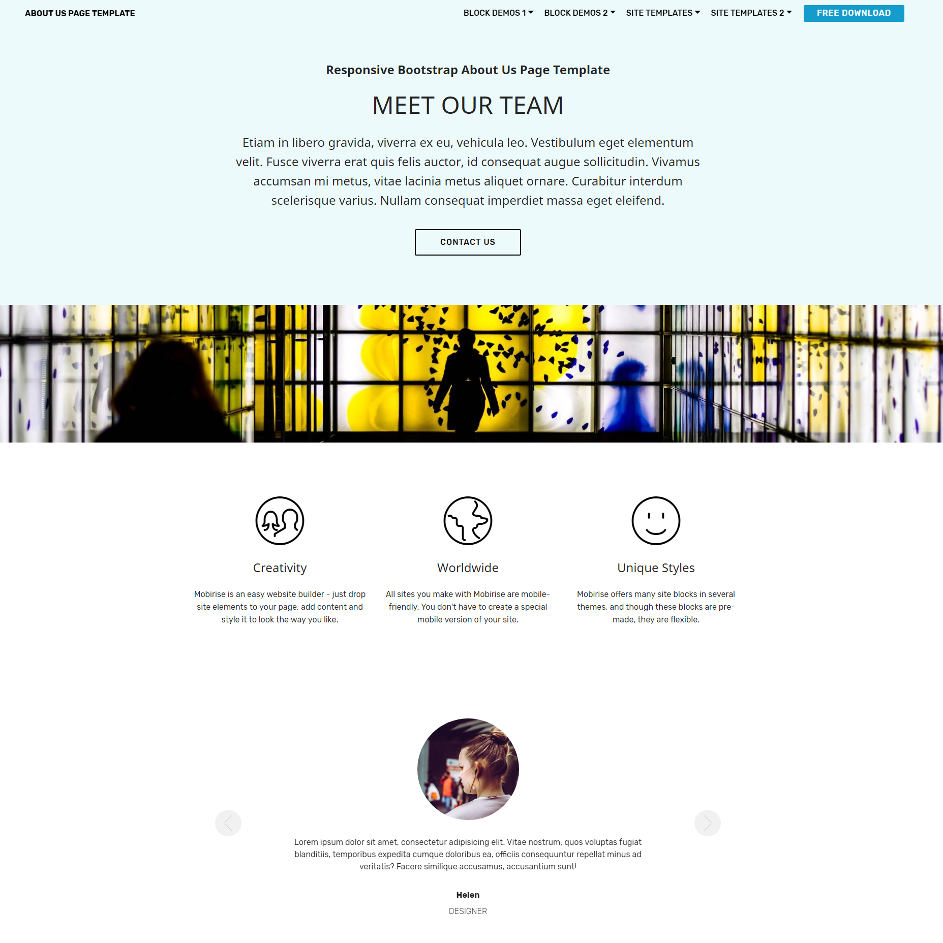 HTML Bootstrap  About Us  Themes